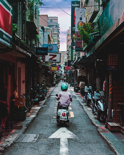 Alley, Motorcycle, Taipei, Taiwan, Scooter, Street