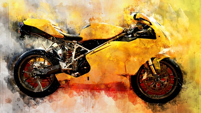 Motorcycle, Watercolor, Motorbike, Transport, Scooter