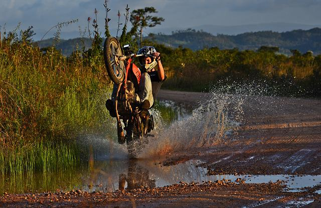 Wheeler, Motorcycle, Splash, Nature, Water, Outdoors