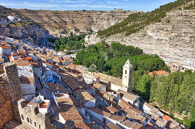 Alcala Del Jucar, Hillside, Village, Valley, Mountain