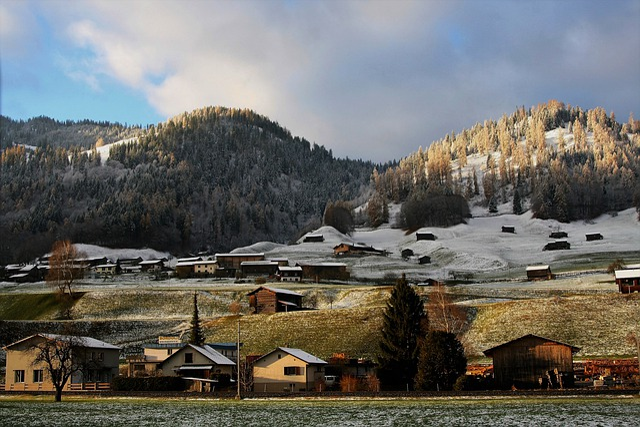 Mountain, Alpine Village, Sky, Nature, Gray, Houses