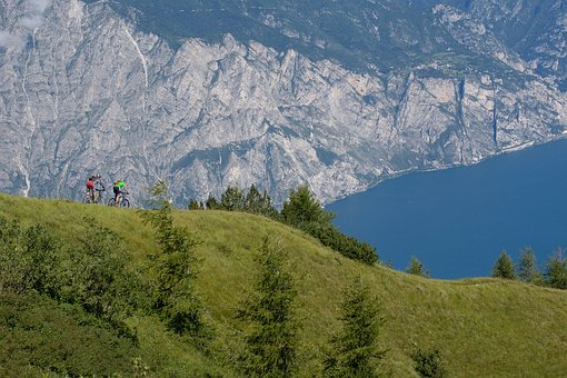 Garda, Mountain Bikers, Lake, Lago Di Garda, Mountains
