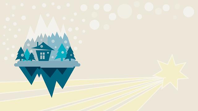 Christmas, Background, Comet, Mountain, Flat Design