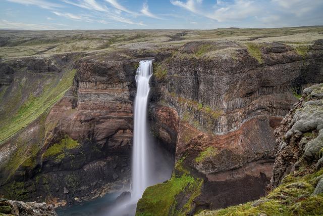 Waterfall, Plateau, Mountain, Háifoss, Iceland, Gorge