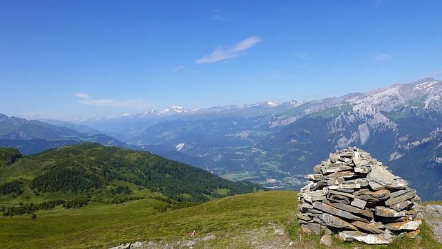 Mountain, Hills, Valley, Rocks, Pasture Land, Panorama