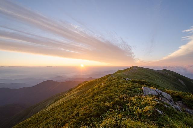 Mountain, Iide Mountain, Japan, Sunrise, Morning Glow