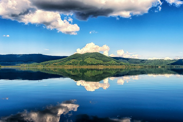 Lake, Mountain, Mirroring, Italy, Lago De Vico, Blue