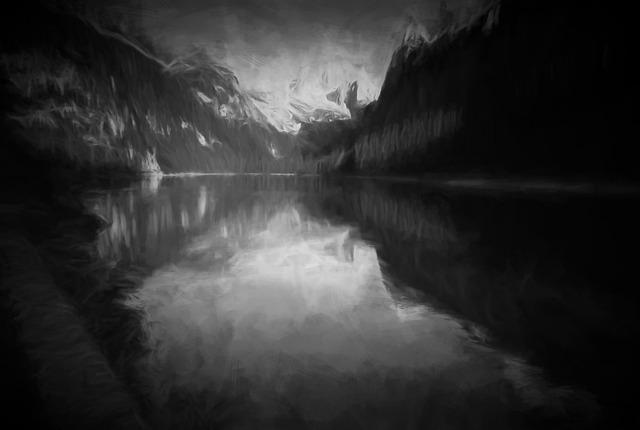 Mountain Lake, Canyon, Reflection, Swayzee, Bw