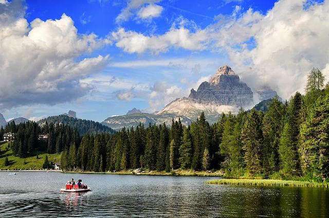 Lake, Misurina, Dolomites, Italy, Mountain Lake, Sky