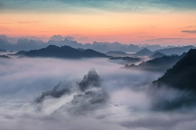 Landscape, Mountain, Fog, Sunset, Sky, Clouds