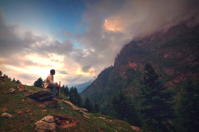 Landscape, Mountain, Sunset, Dawn, Wanderer, Thinker