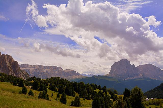 Dolomites, Mountain, Prato, Rock, Clouds, Sky, Nature