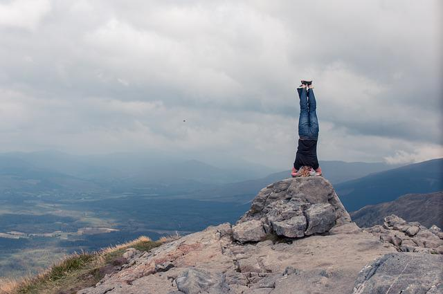 Mountain, Scotland, Headstand, Yoga, Travel, Outdoor