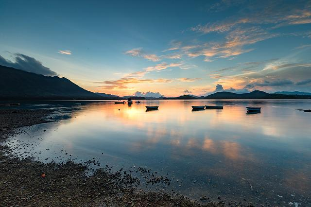 Morning, Sunrise, Sea, Sky Mirror, Mountain, Natural
