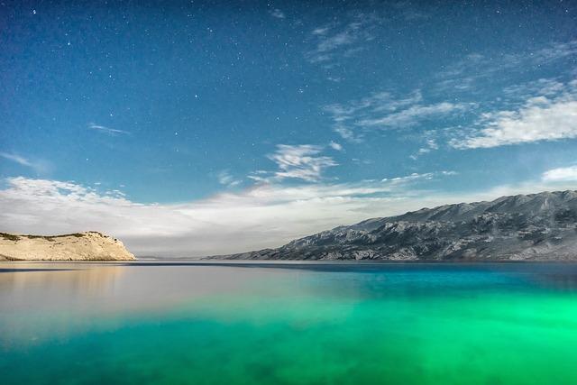 Croatia, Mountain, Mountains, Night, Sea, Stars, Water