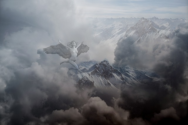 Mountain, Sky, Angel, Spiritual