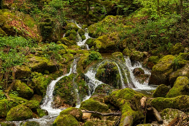 Waterfall, Mountain Stream, Green, Nature, Landscape