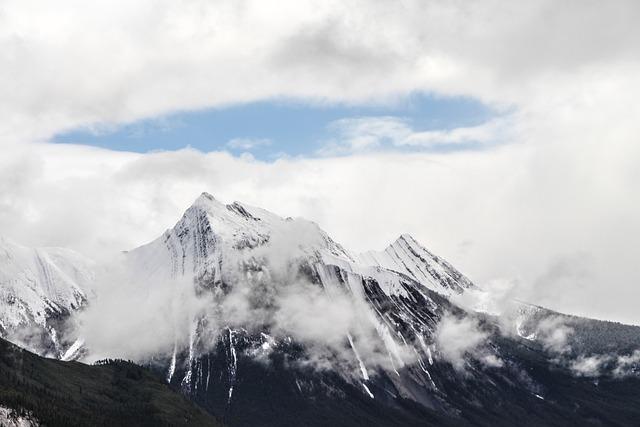 Mountain Top, Summit, Halo, Snow Pack, Glacier, Jasper