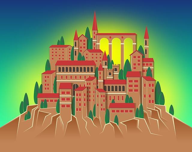 Village, Mountain, Medieval, Buildings, Hill, Urban