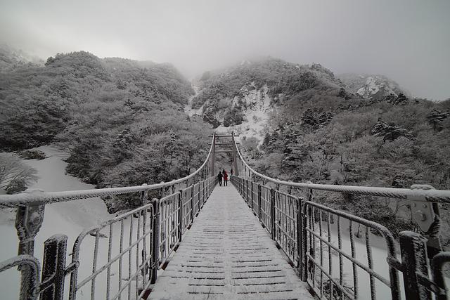 Mountain, Bridge, Halla, Snow, Landscape, Winter