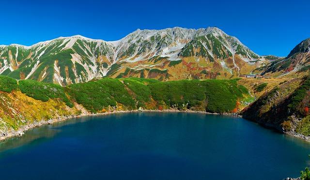 Volcanic Lake, Mountainous Landscape, Autumn, Tateyama