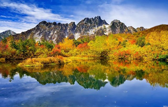 Mountainous Landscape, Autumnal Leaves