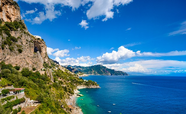 Amalfi, Coast, Sea, Beach, Coastline, Sky, Mountains