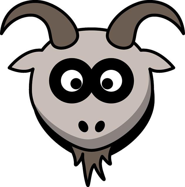 Goat, Head, Cartoon, Gray, Animal, Mountains
