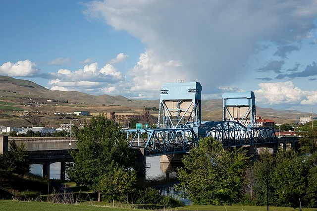 Bridge, Idaho, Sky, Clouds, Architecture, Mountains