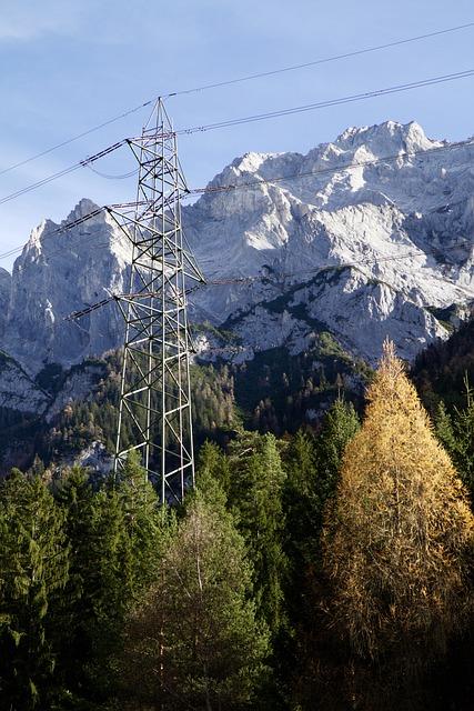Mountains, Alpine, Pylon, Autumn