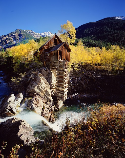 Crystal Mill, Colorado, Autumn, Town, Mountains, Mill
