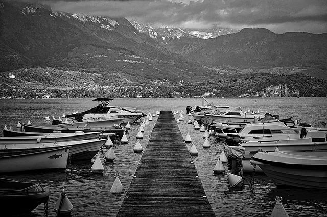 Boats, Ramp, Perspective, Mountains, Recreation, Water