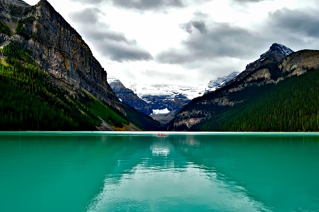Lake Louise, Canada, Boat, Canoe, Fishing, Mountains