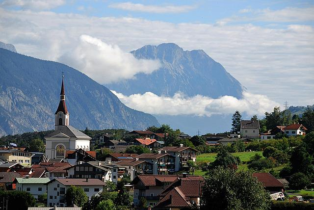 Panorama, Roppen, Village, Mountains, Church