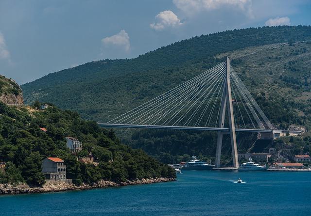 Croatia, Dubrovnik, Bridge, Mountains, Europe, City