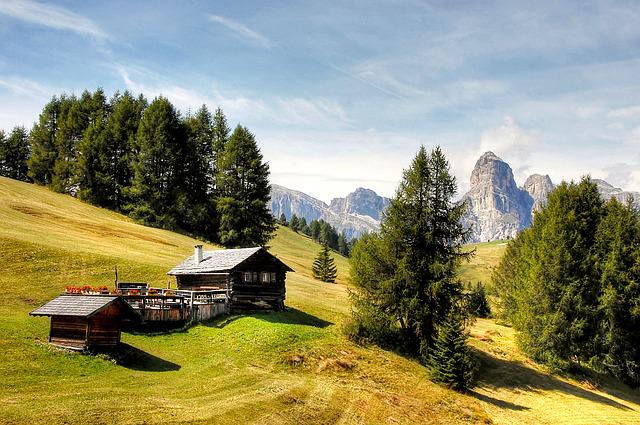 Cottages, Dolomites, South Tyrol, Hut, Italy, Mountains