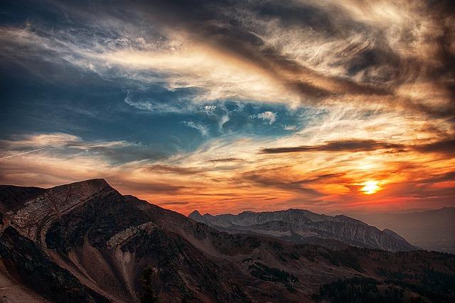 Mountains, Landscape, Sunset, Sunrise, Dusk, Dawn, Sun