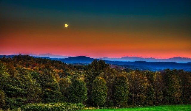 Vermont, Full Moon, Sunset, Dusk, Mountains, Landscape
