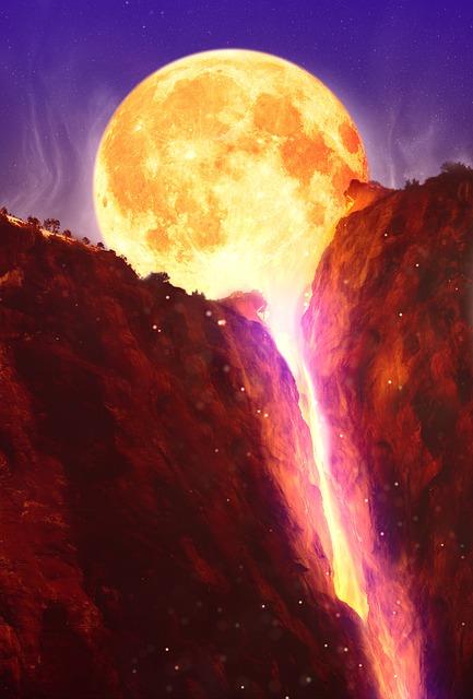 Moon, Mountains, Lava, Full Moon, Night, Sky, Twilight