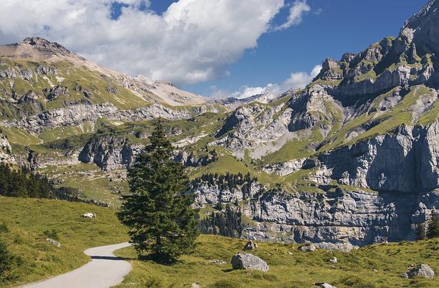 Mountains, Trail, Hiking, Switzerland, Lake Oeschinen
