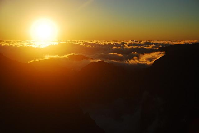 Sunset, Mountains, Clouds, Madeira, Island