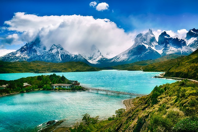 Chile, Landscape, Sky, Clouds, Mountains, Snow, Lake