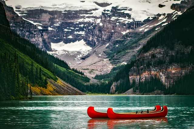 Lake Louise, Canada, Landscape, Mountains, Snow, Canoes