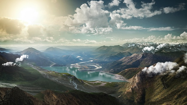 Landscape, Mountains, Lake, Abendstimmung, Surreal