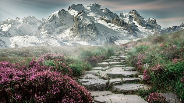 Mountain Landscape, Mountains, Landscape, Stone Stairs
