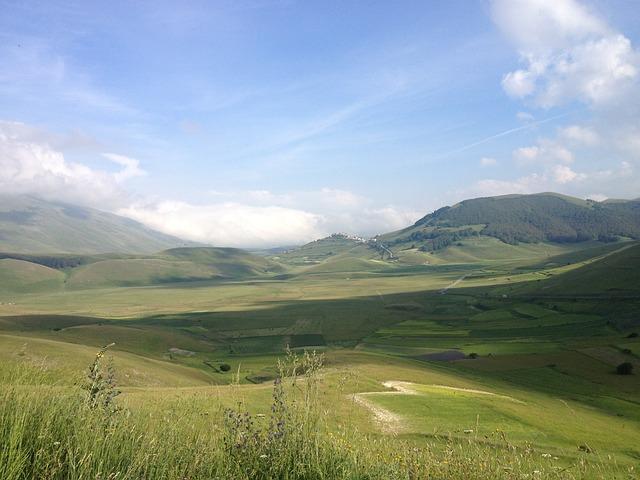 Piano Grande, Le Marche, Italy, Mountains, Sky, Plain