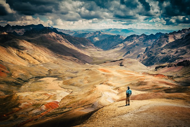 Peru, Figure, Man, Landscape, Mountains, Desert, Nature