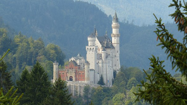 Allgäu, Neuschwanstein Castle, Mountains, Fairy Castle