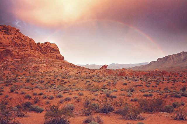 Rainbow, Rain, Sunset, Mountains, Canyons, Nevada