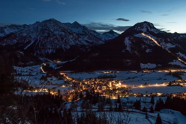 Blue Hour, Night Photograph, Winter, Mountains